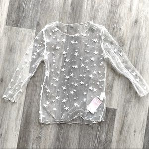 NWT Amazing Lace See Through Star Lace Shirt